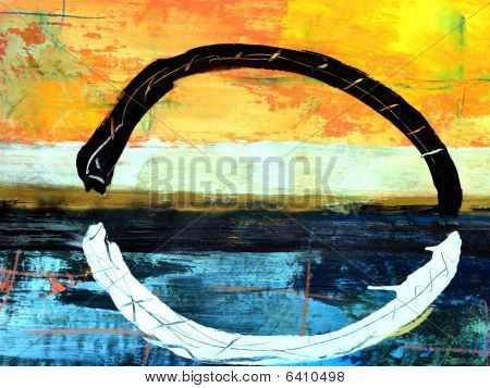 Mixed Media Background Painting Yin Yang