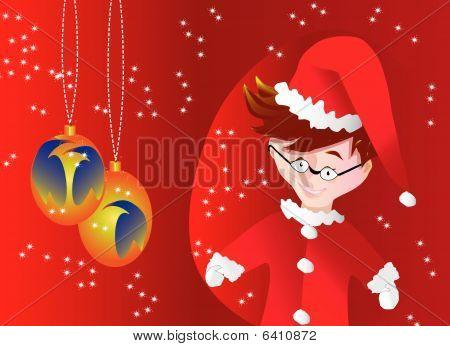 Santa Claus little boy and light bulbs