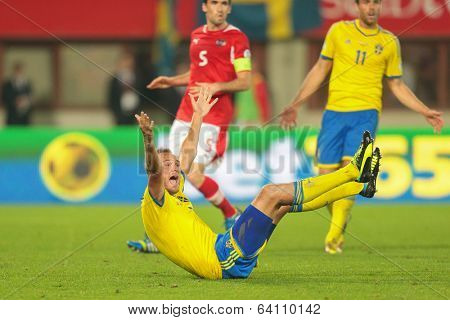 VIENNA,  AUSTRIA - JUNE  7 Andreas Granqvist (#4 Sweden) complains about a foul during the world cup qualifier game on June 7, 2013 in Vienna, Austria.