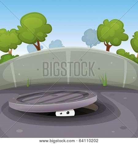 Eyes Spying From Manhole