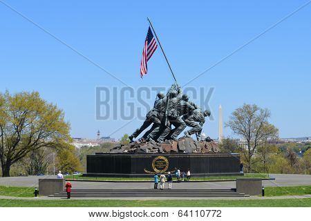 WASHINGTON, DC - APRIL 25, 2014: Iwo Jima Memorial in Washington, DC. The Memorial honors the Marines who have died defending the US since 1775 and a prominent tourist attraction in Washington DC.