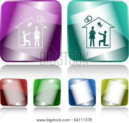 Home affiance. Internet buttons. Vector illustration.