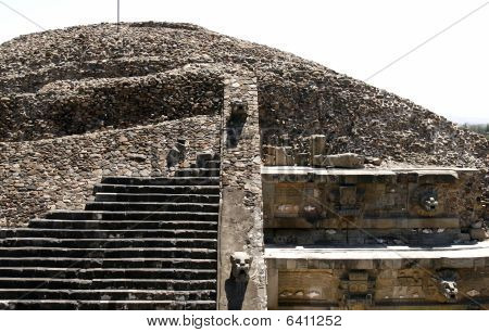 """temple Of The Feathered Serpent"" Wall Detail In Teotihuacan, Mexico"