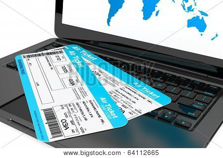 Online Booking Concept. Laptop With Air Tickets