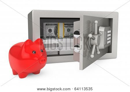 Security Metal Safe With Money And Piggy Bank