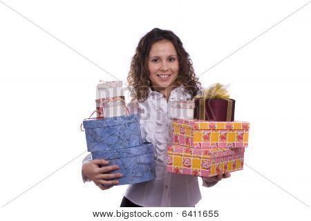 Woman Holding Gift Box For Christmas