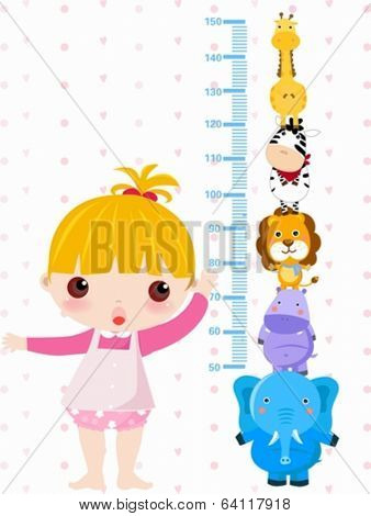 A vector illustration of a girl measuring her height