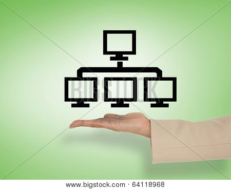 Female hand presenting ftp graphic against green vignette