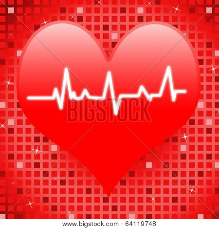 Electro On Heart Means Romantic Pressure Or Passionate Love