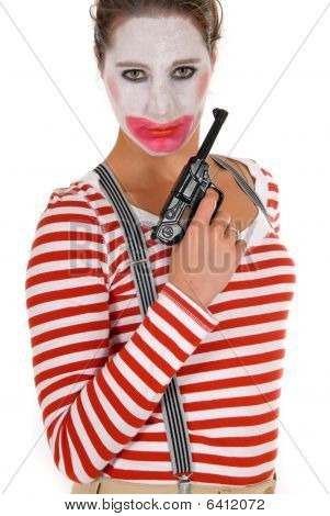 Sad Female Clown Suspenders