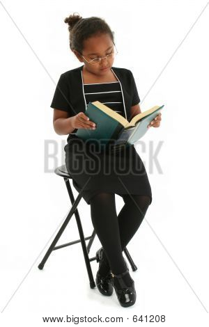 Girl With Glasses Reading