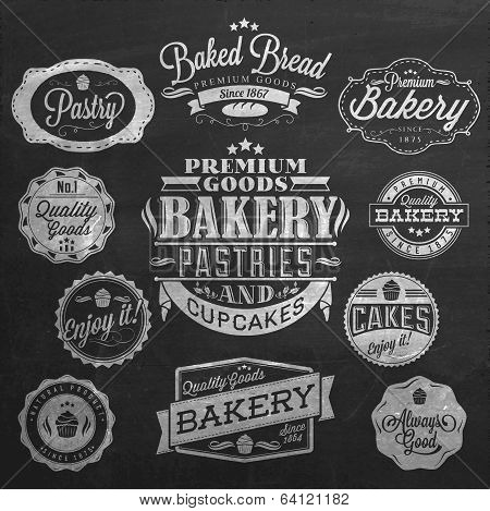 Vintage Retro Bakery Badges And Labels On Chalkboard