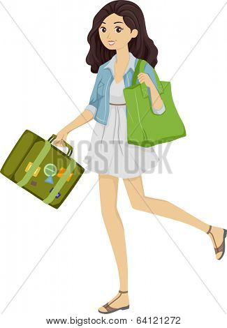 Illustration of a Girl Carrying a Green Shoulder Bag and a Green Piece of Luggage / Green Travel