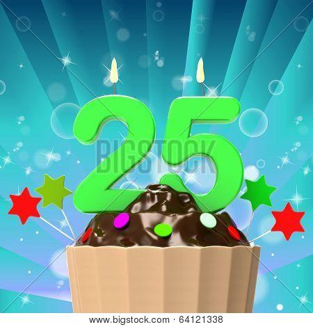 Twenty Five Candle On Cupcake Means Birth Anniversary Or Celebra