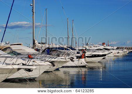 Row of yachts, Puerto Banus, Spain.