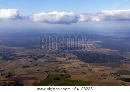 Blue sky and puffy clouds above Latvia