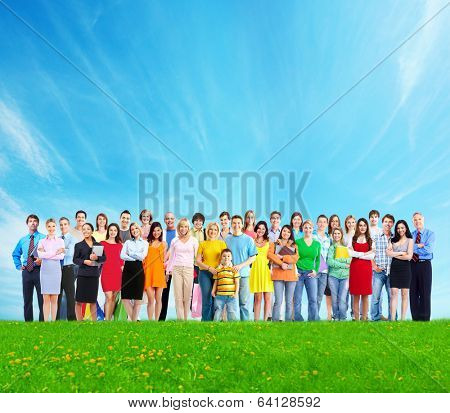 Big family people group over blue sky background.