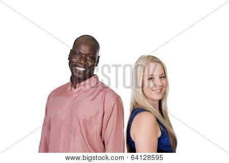 Black Man And White Blond Woman Laughing