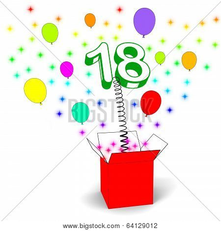 Number Eighteen Surprise Box Means Party Decorations And Sparkli