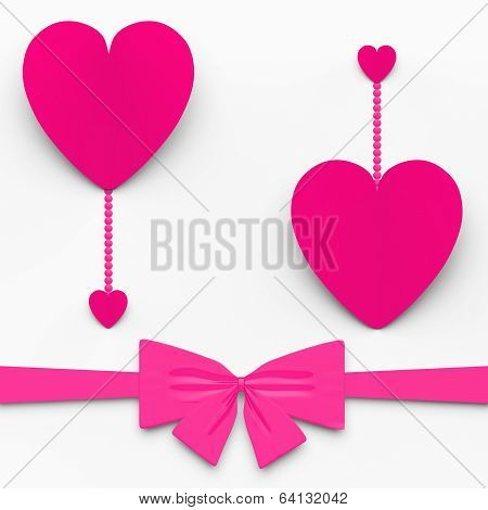 Two Hearts With Bow Show Decorative And Sweet Love Declaration