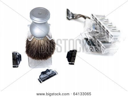 The Brush For Shaving And Three Used Edges For Shaving