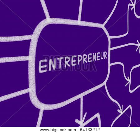 Entrepreneur Diagram Shows Business Person And Start-up