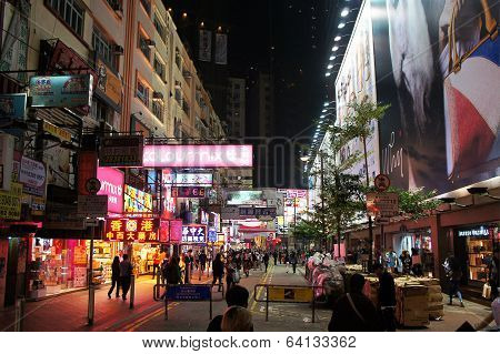 Lockhart road in the Causeway Bay of Hong Kong by night