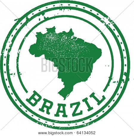 Vintage Style Brazil South America Travel Stamp