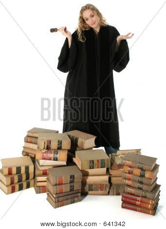 Female Judge And 70 Year Old Law Books
