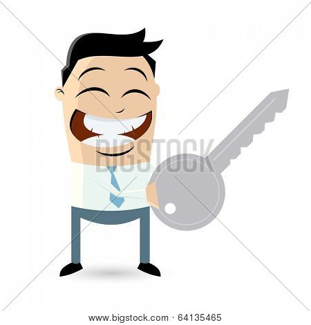 funny businessman with a key
