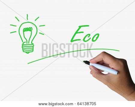 Eco And Lightbulb Refer To Energy Efficiency And Ecology