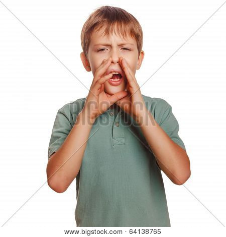 teenager calling boy cries shouts kids opened his mouth isolated