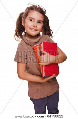 brunette girl glasses baby reads the book keeps smiling isolated