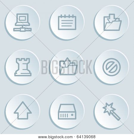 Data web icons, white sticker buttons