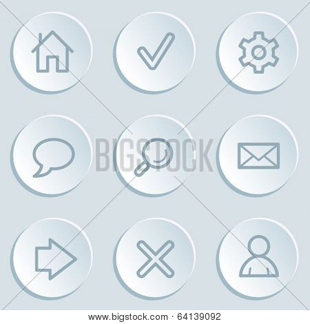 Basic  web icons, white sticker buttons