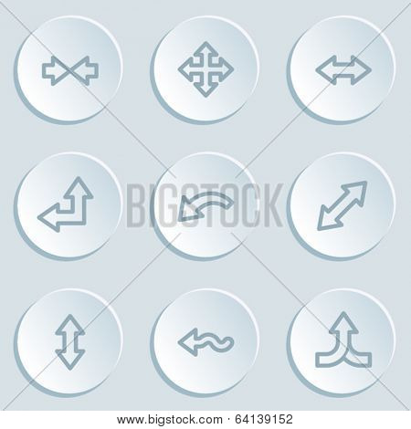 Arrows web icon set 2, white sticker buttons