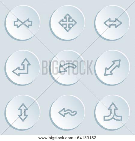 Arrows web icon set 2, white sticker buttons