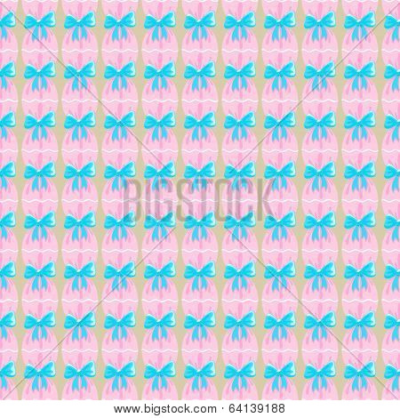 Seamless Pattern With Blue Ribbons