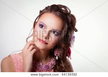 Portrait Of Beautiful Girl With Spring Makeup And Decoration Technique Soutache