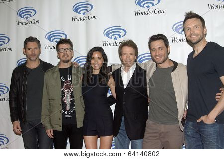 APRIL 19-ANAHEIM, CA: Eric Bana, Scott Derrickson, Olivia Munn, Jerry Bruckheimer, Edgar Ramirez and Joel McHale arrive at the 2014 Annual Wondercon press room on April 19, 2014 in Anaheim, CA.