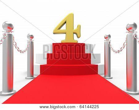 Golden Four On Red Carpet Shows Elegant Film Event Or Celebratio