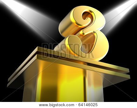 Golden Three On Pedestal Shows Entertainment Awards Or Recogniti