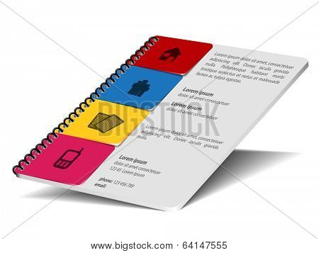 Vector notepad with company information bookmarks.