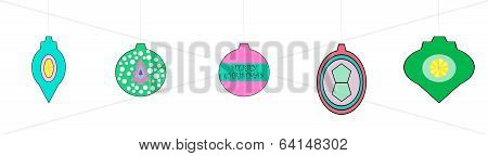 Whimsical Retro Looking Christmas Ornaments