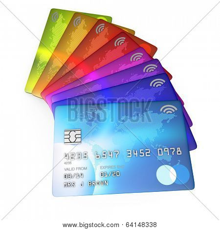3d render of brightly coloured credit cards cut out on a white background