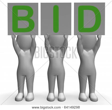 Bid Banners Shows Auction Bidder And Auctioning