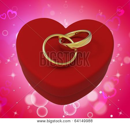 Wedding Rings On Heart Box Mean Romantic Proposal And Vows
