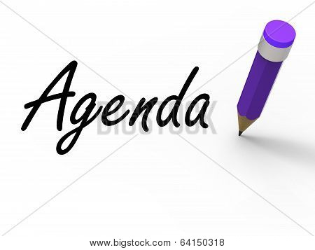 Agenda With Pencil Means Written Agendas Schedules Or Outlines