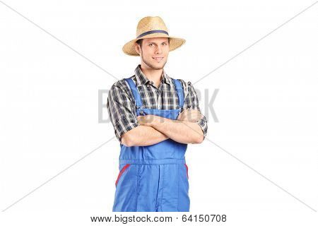 Male farmer in jumpsuit posing isolated on white background