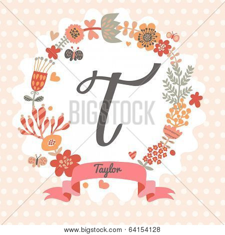 Personalized monogram in vintage colors. Stylish letter T. Can be used as greeting card, invitation card. Floral wreath in vector